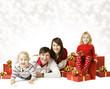 Christmas Family Portrait, New Year Present Gift Box
