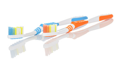 Pair of Blue and Orange Toothbrushes