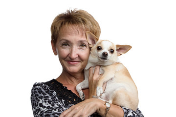 Portrait of the old woman with small dog