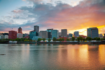 Downtown Portland cityscape at the sunset time