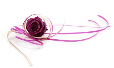 rose et emballage cadeau