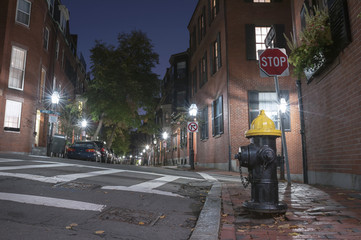 Narrow street in Beacon Hill at night, Boston