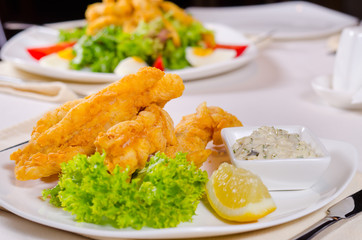 Delicious fried fish with tartare sauce