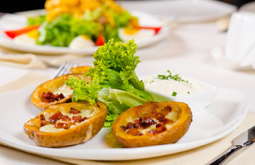 Potato Skins Appetizer with Garnish