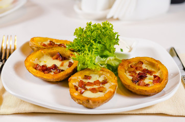 Plate of Potato Skins Appetizer