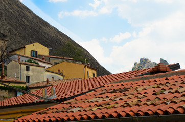 Castelmezzano roof view with dolomiti lucane