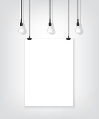 White poster on wall and bulb