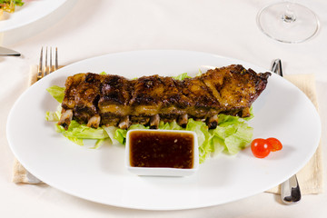 Rack of Grilled Pork Ribs with Dipping Sauce