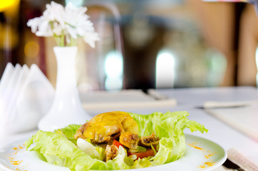 Appetizing Chicken Meat Dish with Fresh Lettuce