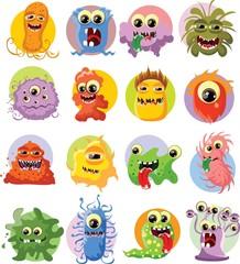 Мультфильм милые монстры и бактерии
