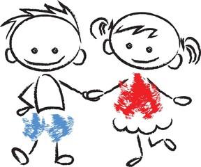 Симпатичная мультфильм каракули детей