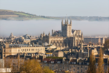The city of Bath shrouded in morning mist