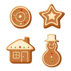 Christmas gingerbread cookies. Vector illustration.