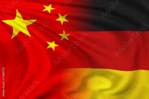 Leinwanddruck Bild China and Germany flag