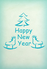 New Year and Marry Cristmas drawing card