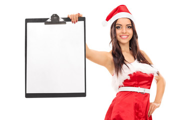 Woman in Santa costume holding a clipboard