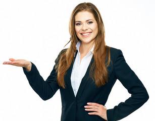 smiling business woman showing copy space for product or advert