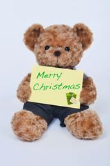 Teddy bear holding a  sign that says Merry Christmas