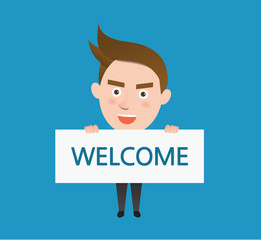 Funny flat character welcome business concept