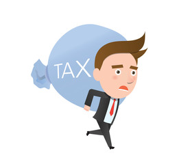 Funny flat character heavy tax business concept