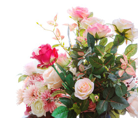 beautiful artificial roses flowers bouquet arragngement isolated