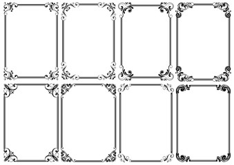 Set of eight black decorative frame