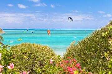 kite-surf sur lagon de Mourouk, île Rodrigues
