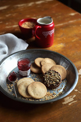 Wheat cookies with cinnamon and nutmeg