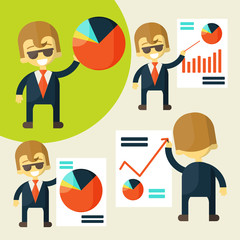 Cheerful businessman in various poses chart shows success.