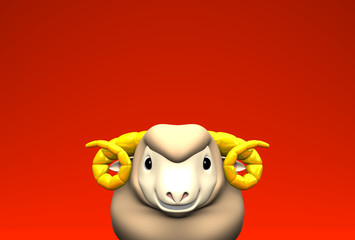 Smile Brown Sheep On Red Text Space