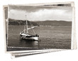 Vintage photo Old wooden sail ship - 72864363