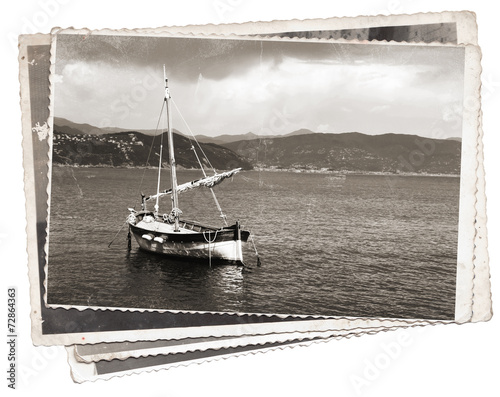 Vintage photo Old wooden sail ship - 72864363