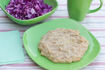 porridge and cabbage salad