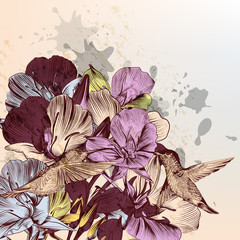 Flowers background with birds and hand drawn flowers in vintage
