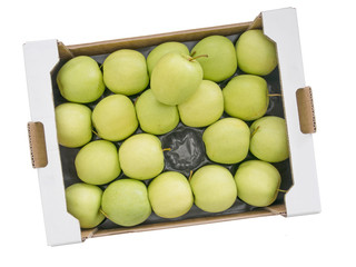 Large wholesale box of Golden Delious yellow green apples, isola