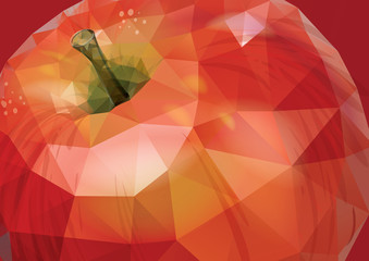 Vector red apple background. Low-poly triangular style