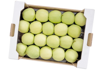 Box of Golden Delicious green yellow apples, wholesale pack, iso
