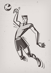 Volleyball player. Vintage style