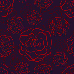 Dark passionate seamless pattern with blood red contour roses