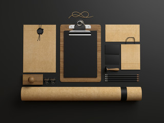 identity elements on dark paper background