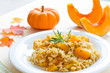 Leinwandbild Motiv Pumpkin risotto with rosemary for healthy dinner