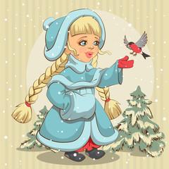 Snow Maiden in blue fur coat feeds bullfinch