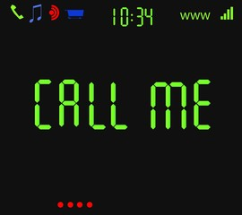 Scherm met tekst Call me