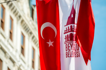 Turkish flag in Beyoglu district, Istanbul