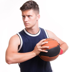 Basketball player with the ball