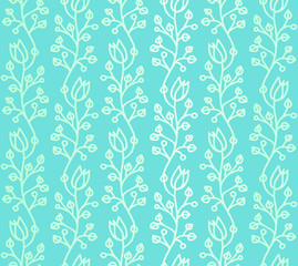 Waved Doodle harebells on blue-green background seamless pattern