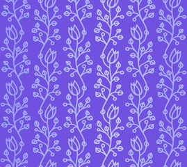 Dark Violet  seamless pattern with Waved Doodle harebells
