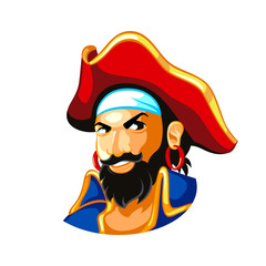 Cheerful pirate captain in three-corner hat