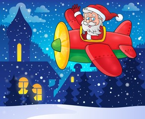 Santa Claus in plane theme image 4