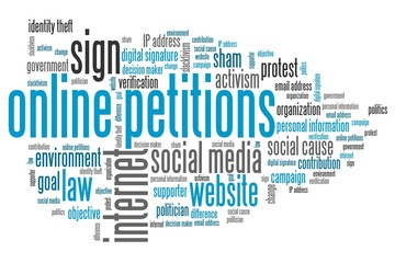 Online petitions. Word cloud illustration.